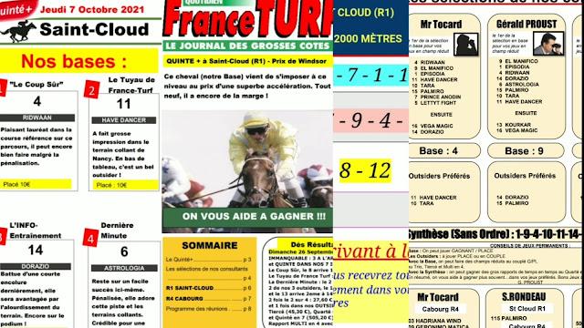 Pronostic quinté+ jeudi Paris-Turf TV-100 % 07/10/2021
