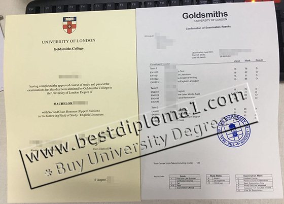 Goldsmiths fake degree and transcript
