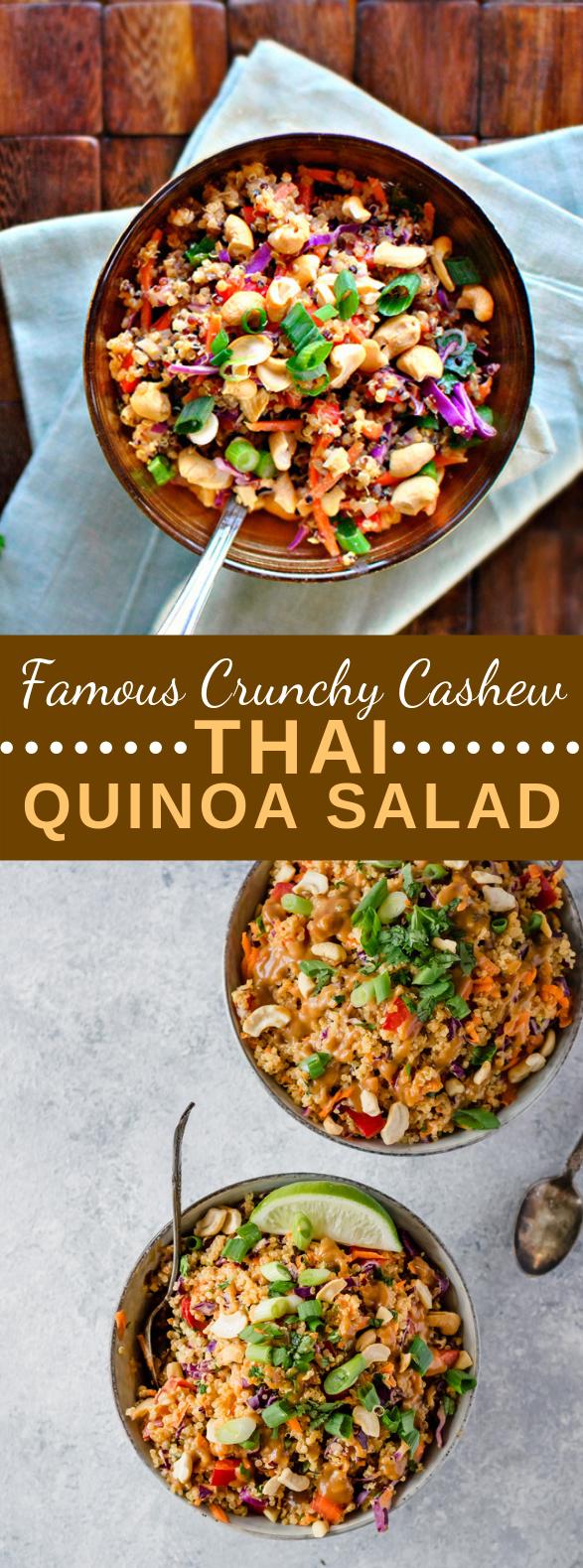 Famous Crunchy Cashew Thai Quinoa Salad {vegan & gluten-free} #vegetariansalad #mealprep