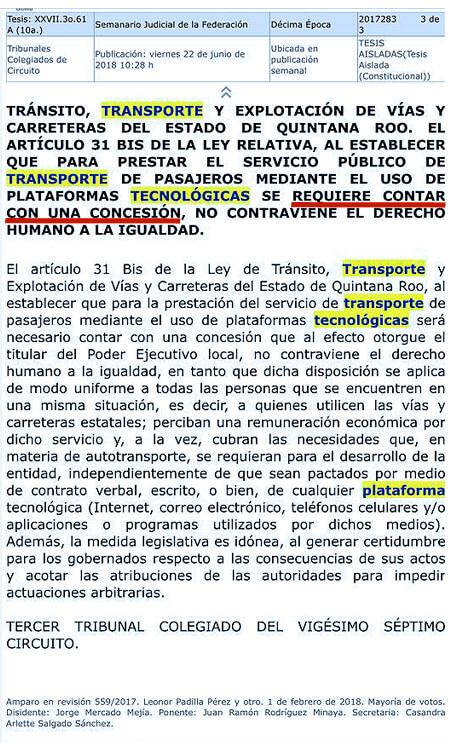 PISO PAREJO para todos los transportista, base fundamental de la LEY DE MOVILIDAD de Q. Roo