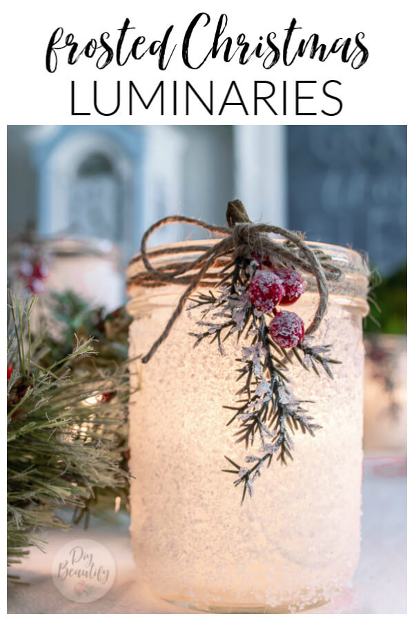 frosted and wintry Christmas luminary candleholders