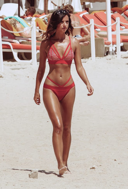 Lucy Mecklenburgh in Red Bikini in Majorca