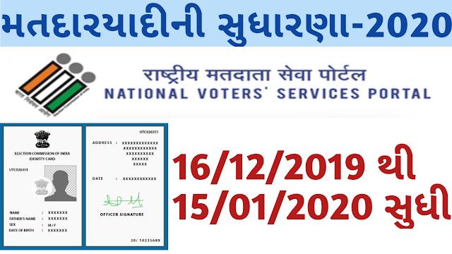 Matdar Yadi Sudharna Karykram 2020,Voter List Correction Program 2020