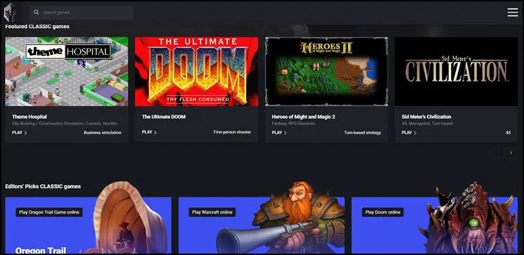 Παίξτε τα καλύτερα κλασσικά παιχνίδια online, στο web browser σας