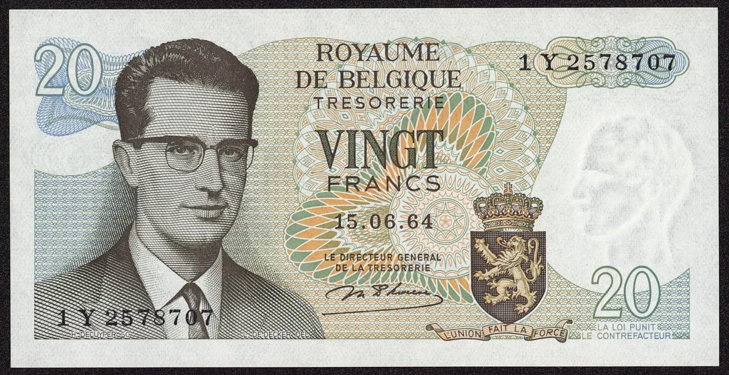 Belgium Banknotes 20 Francs Treasury Note 1964 King Baudouin I