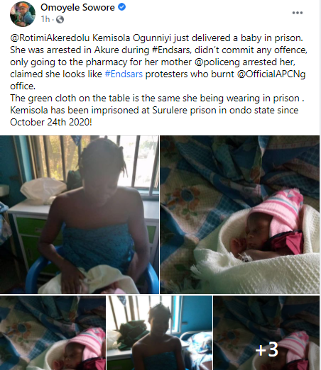 Pregnant #ENDSARS Protester who was arrested in Ondo welcomes her baby in Prison (Photos)