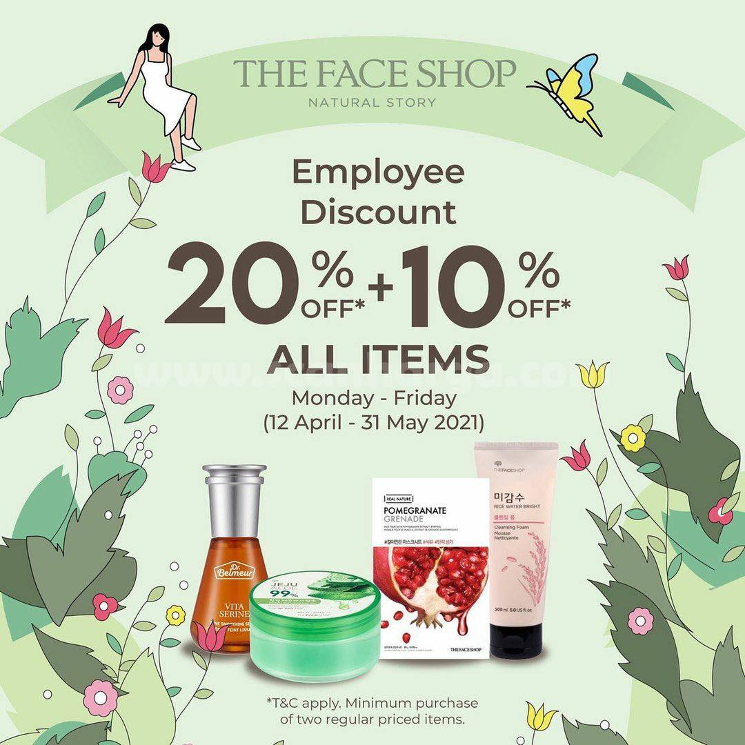 The Face Shop Promo Employee Discount 20% + 10% Off All Items