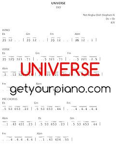 Piano Sheet Universe EXO