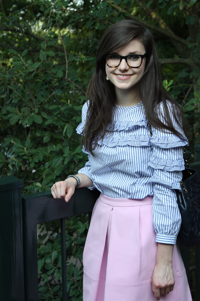 2017, summer, J.Crew, stripes, pink, ruffle,