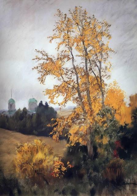 Исаак Ильич Левитан - Осенний пейзаж с церковью. 1890-е