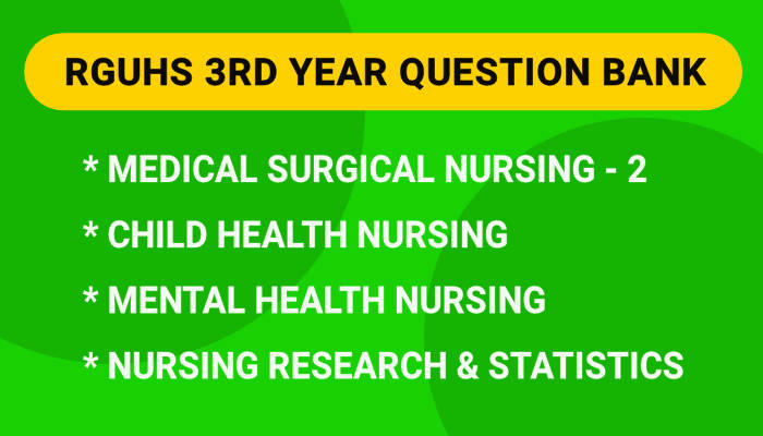 RGUHS 3rd Year B.Sc Nursing Question Bank, Blueprint PDF 2021