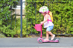 pink micro scooter stage 3 with basket and lunch bag