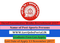 Diesel Locomotive Works Recruitment 2017– 10 Sports Persons