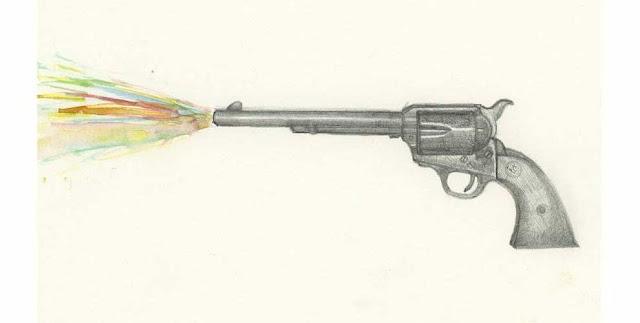 Acuarela Pistola arte dibujo a lapiz