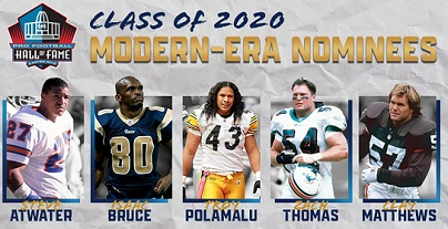 Modern-era nominees for Pro Football Hall of Fame's class of 2020, Full 122 men's List.