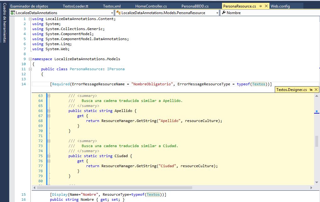 Clase generada por los archivos de recursos C#