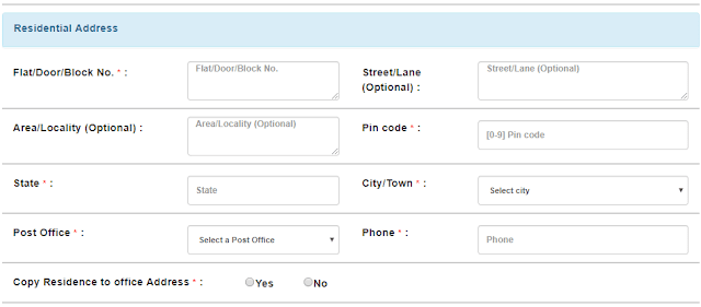 picture of residential address section to register account in irctc