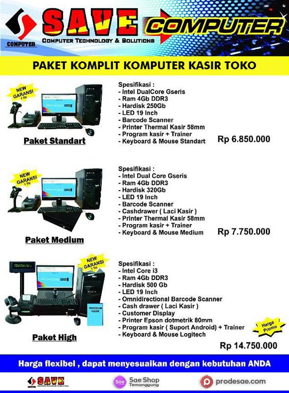 Paket Komplit Komputer Program Kasir Toko Kab Temanggung