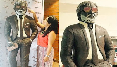 Kabali Statue made of 600 kg Chocolates by a Bakery Owner in Chennai