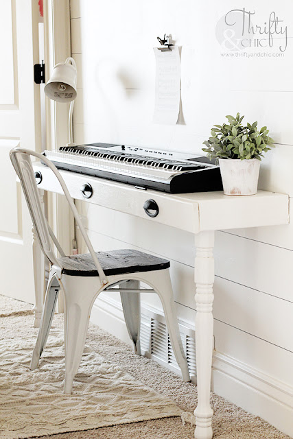 DIY piano stand. Built in piano stand tutorial. How to make a piano stand. DIY built in work station. DIY built in desk. DIY console table. Long hallway ideas. DIY storage desk tutorial.