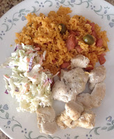 Chicken, Cabbage Salad and Rice