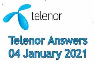 Telenor Quiz Today 04 January 2021 | Telenor Answers 04 January 2021