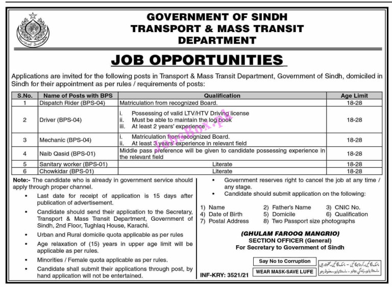 Transport and Mass Transit Department Sindh Jobs 2021 in Pakistan