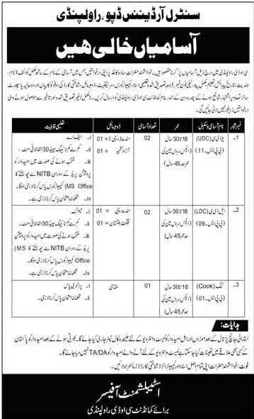Join Pak Army Central Ordnance Depot COD Rawalpindi Latest Jobs in Pakistan