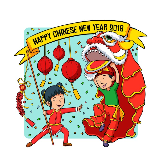 Happy Chinese New Year - Painted lion dance boy and girl playing the firecrackers free vector