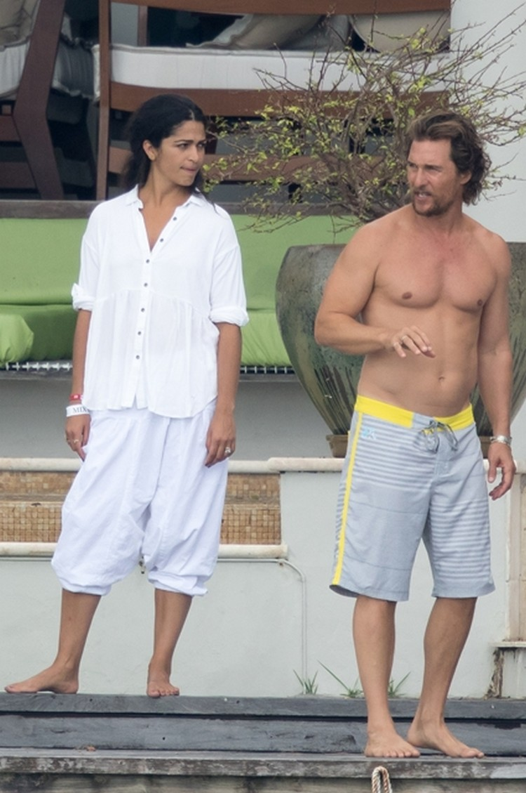 Matthew McConaughey and his wife Camilla Alves spend time in Miami beach