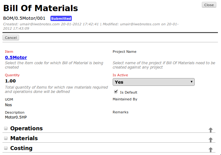 ERPNext User Manual: How to Make BOM (Bill of Material)?