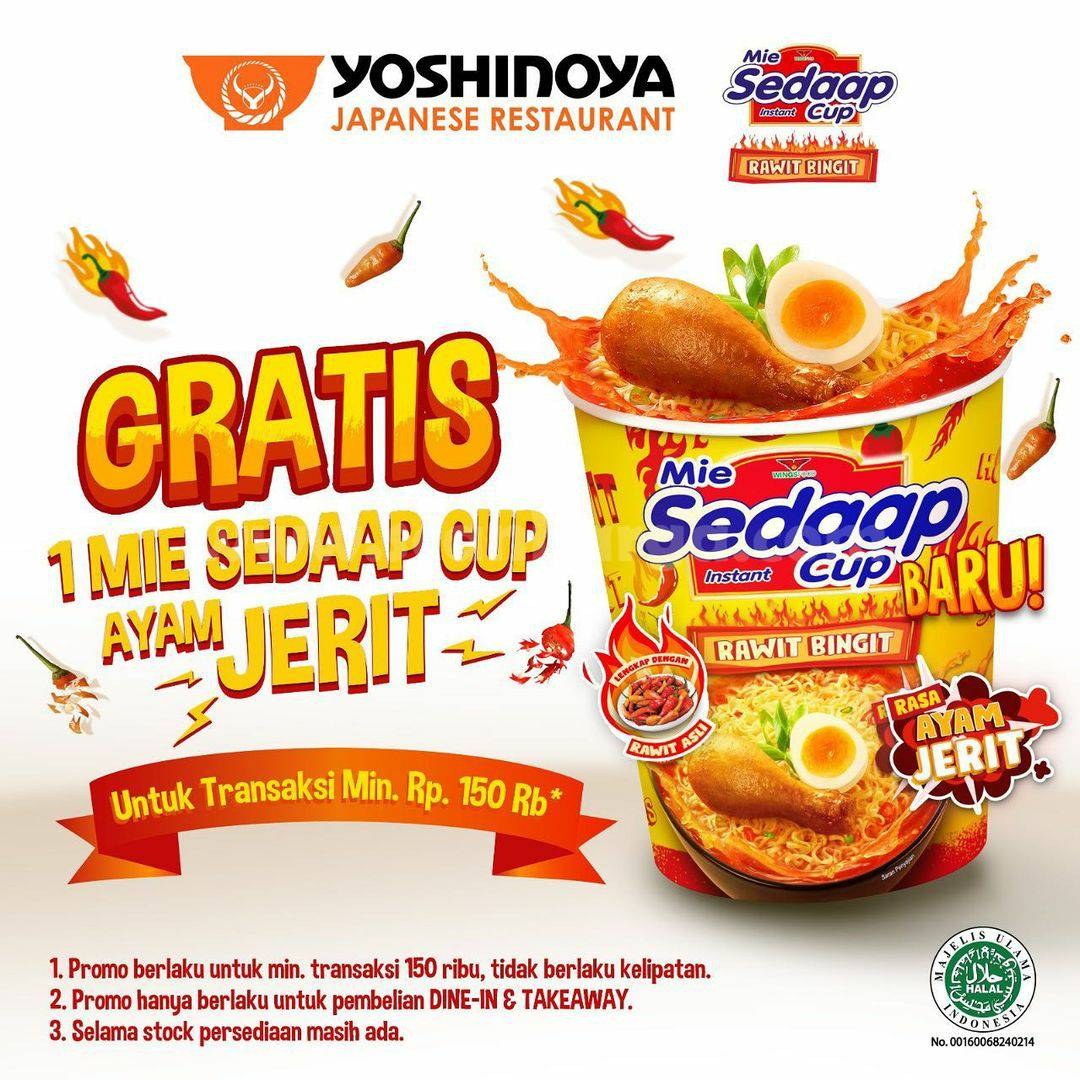 Promo YOSHINOYA GRATIS Mie Sedaap Cup Rasa Baru Ayam Jerit!