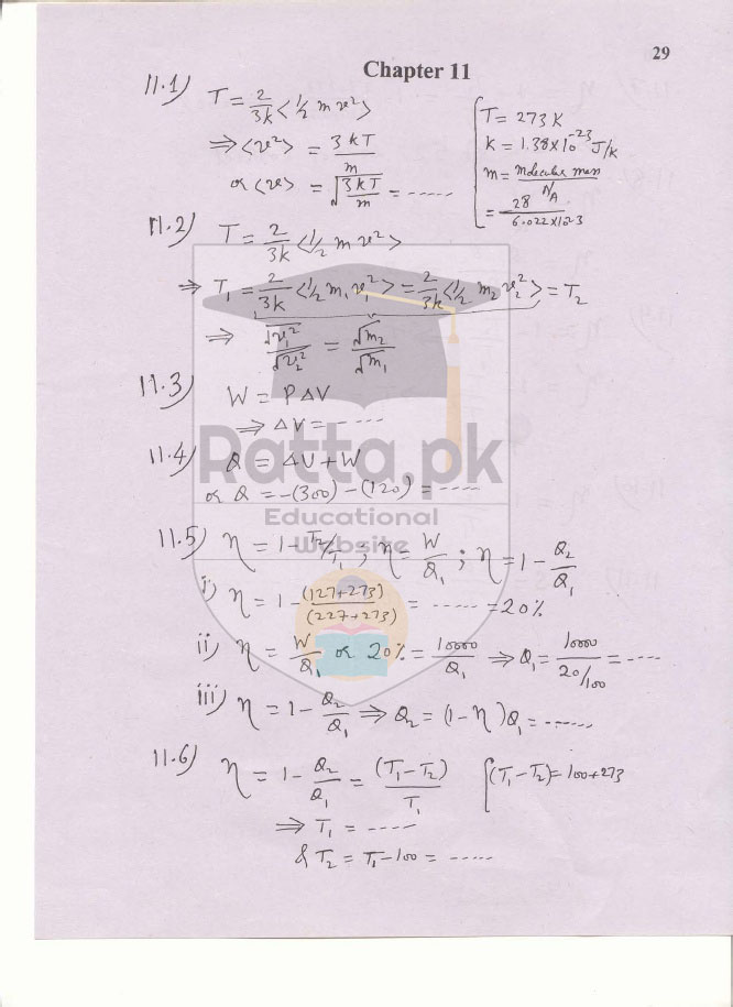 1st Year Physics Solved Numericals Chapter 11 Heat