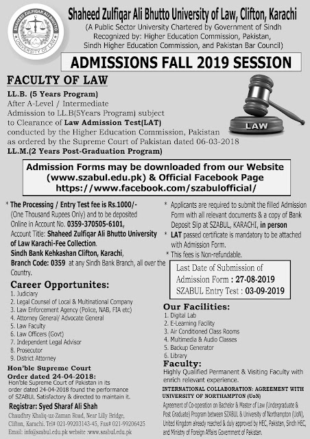 Shaheed Zulfiqar Ali Bhutto University of Law (SZABUL)