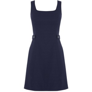 Pinafore tab detail dress in navy, GBP 20 from Oasis