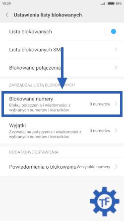 Blokowanie połączeń w ustawieniach