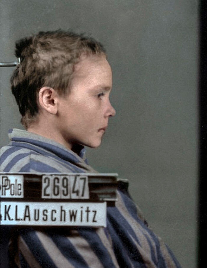 Digital Artist Colorizes The Last Heartbreaking Pictures Of A 14-Year-Old Polish Girl In Auschwitz - Czesława sat in front of the camera mere minutes after she had been beaten by a female prison guard.