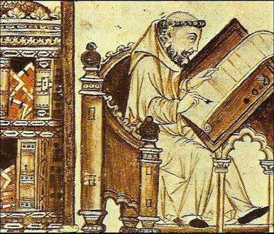 Copista. Grabado medieval
