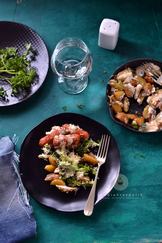 Brocolli, Potato, Sausage & Cheese Skillet