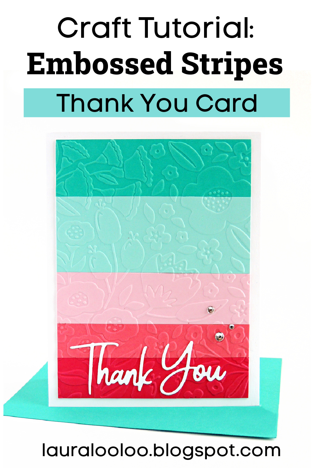 How to make embossed stripes on a thank you card.