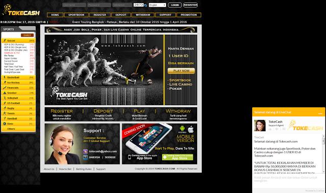 Tokecash.com Agen Judi Bola Poker dan Live Casino Online Terpercaya Indonesia