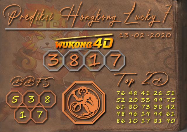 Prediksi Togel HONGKONG LUCKY 7 WUKONG4D 13 FEBRUARI 2020