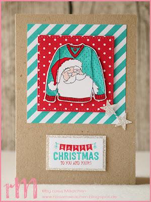 Stampin' Up! rosa Mädchen Kulmbach: Weihnachtskarten mit Christmas Sweater und Labels to Love