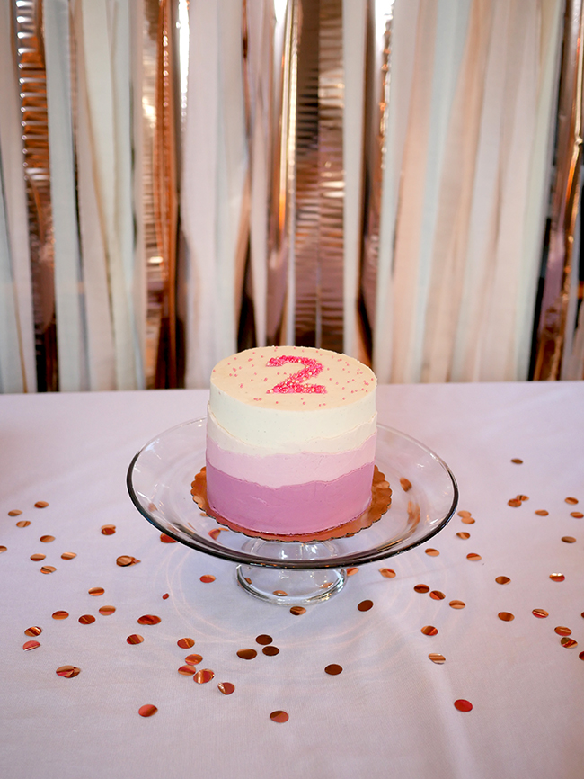 2 year old girl pink birthday cake with sprinkles