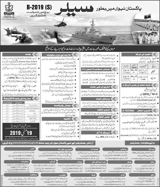 Pakistan Navy Sailor Jobs Batch B-2019