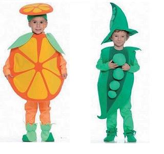 disfraz casero de guisante y naranja