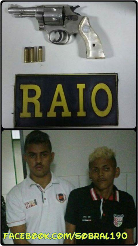 SOBRAL: PMs do RAIO prendem dupla de posse de um revólver no bairro Sumaré