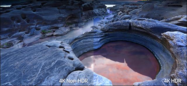 مشهد صخري على شاطئ البحر يظهر الفرق في اللون بين 4K غير HDR و 4K HDR.