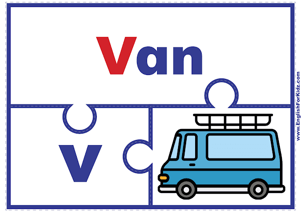 Letter V matching puzzle - printable English alphabet learning activity