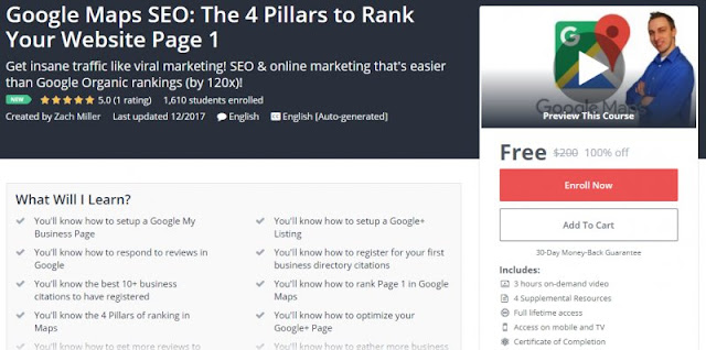 [100% Off] Google Maps SEO: The 4 Pillars to Rank Your Website Page 1| Worth 200$